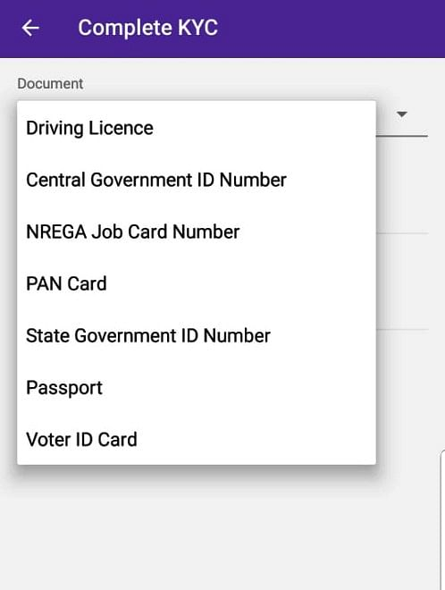 No sign of Aadhaar for e-KYC on PhonePe also.