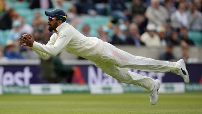 Rahul, who was at mid-on, was quick enough to cover quite a ground as he ran backward and stretched full body to complete the catch.