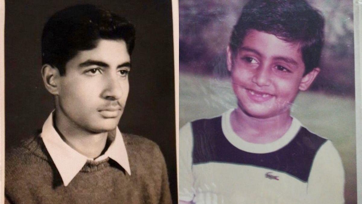 Amitabh and Abhishek Bachchan in vintage photos.