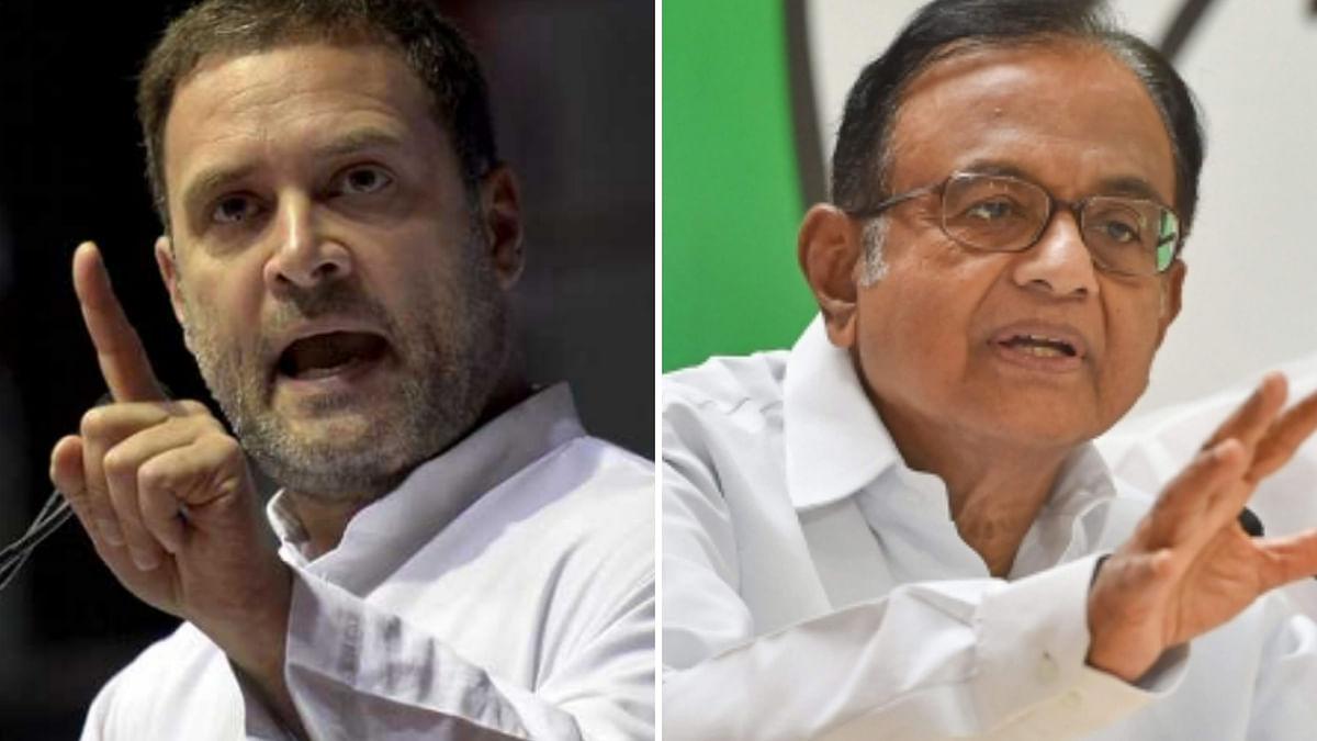 Senior Congress leader P Chidambaram (R) and Rahul Gandhi.