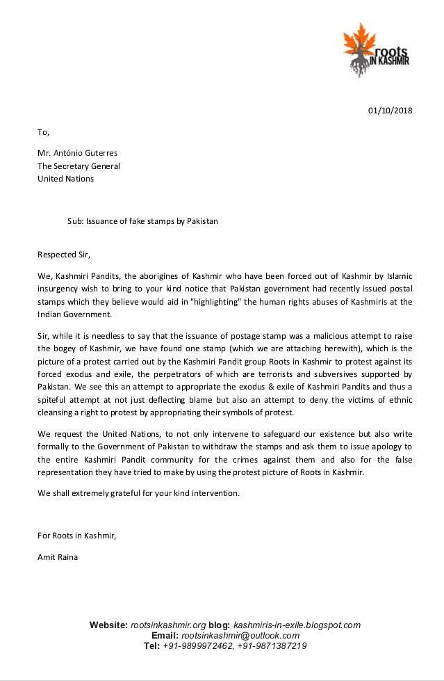 Roots in Kashmir's letter to UN Secretary General.