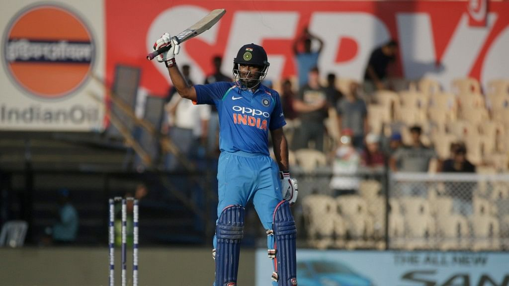 India's Ambati Rayudu after bringing up his century against West Indies in in the fourth ODI.