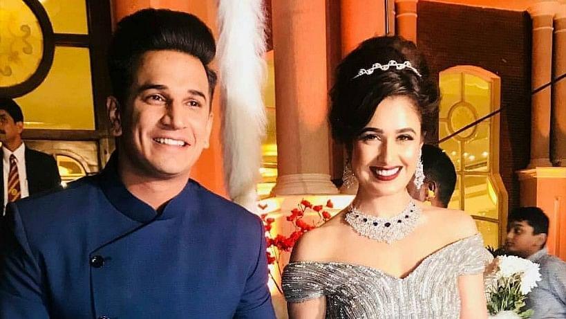 Prince Narula and Yuvika Chaudhary at their wedding reception.