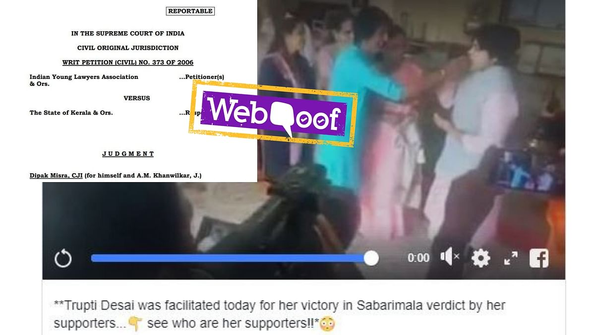 A video showing activist Trupti Desai being felicitated by a group of people is being shared online with a misleading caption.