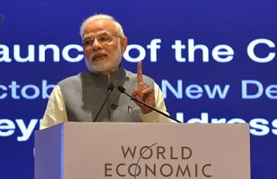 New Delhi: Prime Minister Narendra Modi addresses at the launch of World Economic Forum