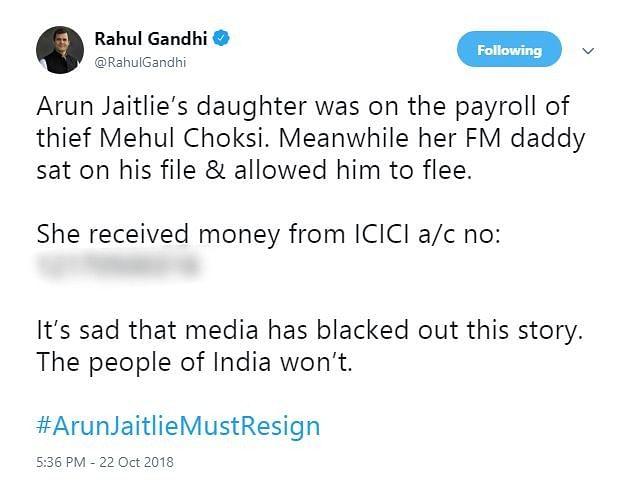 'Jaitlie Must Resign': Rahul Attacks FM & His Daughter Over Choksi