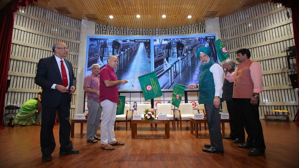The 17.86 km-long Shiv Vihar-Trilokpuri Sanjay Lake section of the Delhi Metro's Pink Line was flagged off by Hardeep Singh Puri and Delhi Deputy Chief Minister Manish Sisodia.
