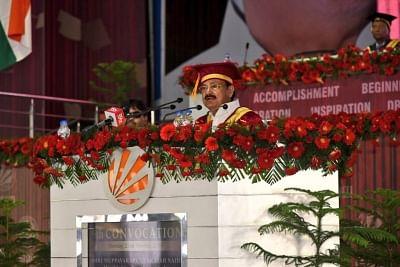 Phagwara: Vice President M. Venkaiah Naidu addresses at the 9th Convocation of Lovely Professional University in Phagwara, Punjab, on Oct 22, 2018. (Photo: IANS/PIB)