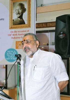 New Delhi: Union MoS Micro, Small and Medium Enterprises Giriraj Singh addresses during a programme on Gandhi Jayanti - birth anniversary of Mahatma Gandhi , at Khadi and Village Industries Commission, in Mumbai, on Oct 2, 2018. (Photo: IANS/PIB)