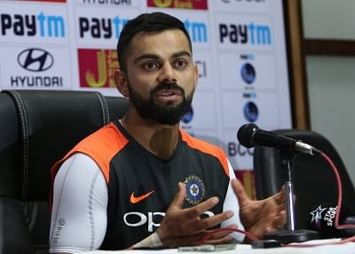 Hyderabad: Indian captain Virat Kohli addresses a press conference on the eve of the second test match against West Indies at the Rajiv Gandhi International Cricket Stadium, in Hyderabad on Oct 11, 2018. (Photo: Surjeet Yadav/IANS)