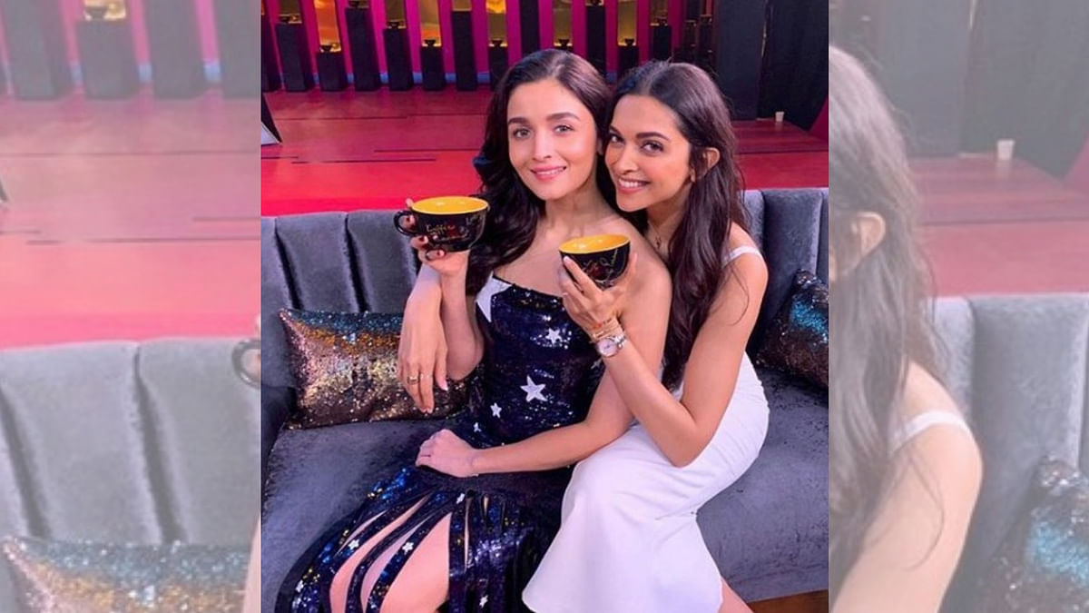 Alia Bhatt and Deepika Padukone on the sets of <i>Koffee With Karan</i>.