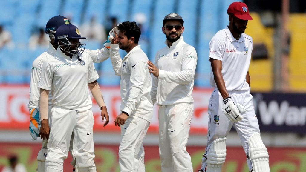 India beat West Indies by a record innings and 272 runs in the first Test in Rajkot.