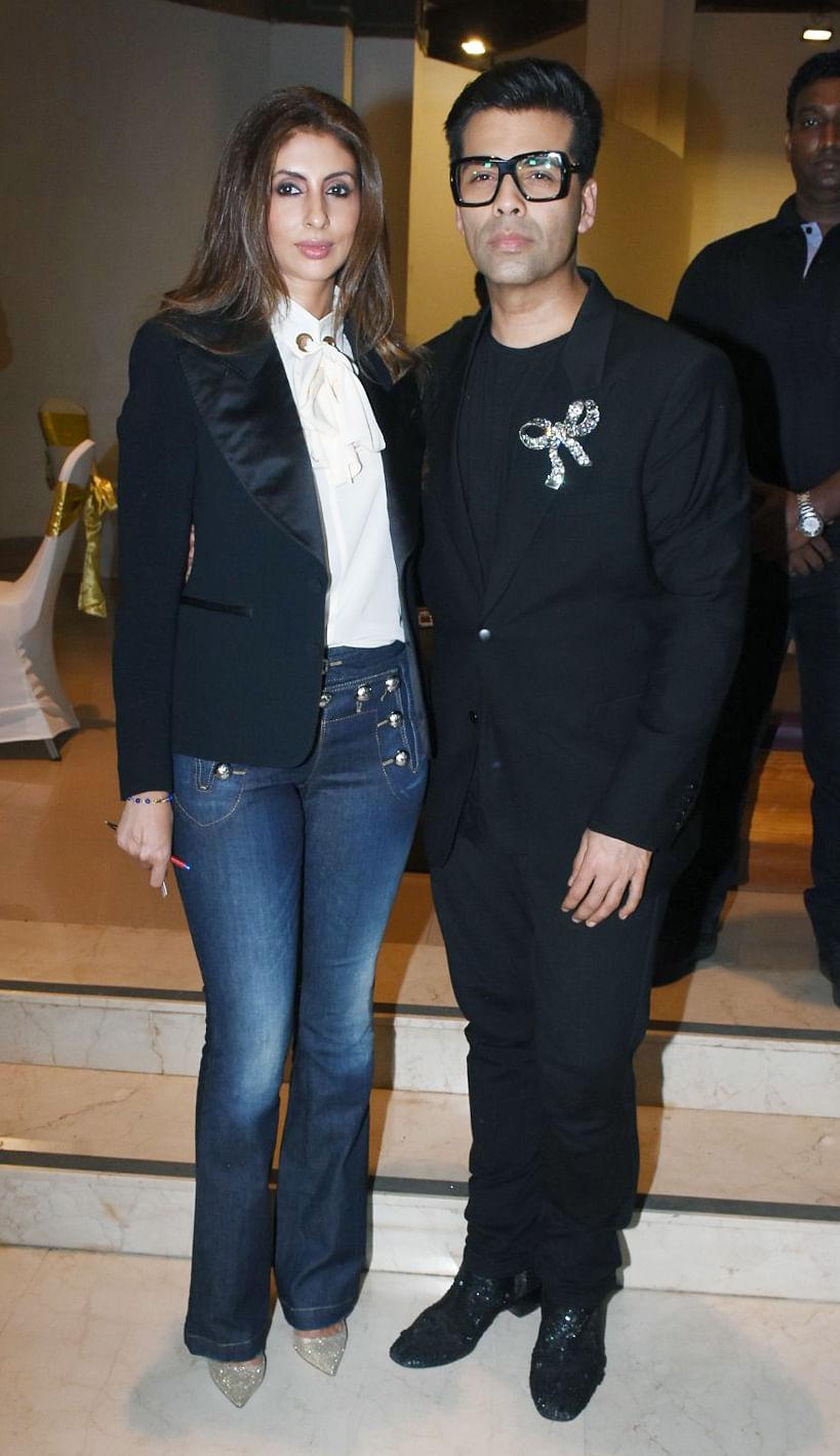 Shweta Bachchan with Karan Johar at the book launch.