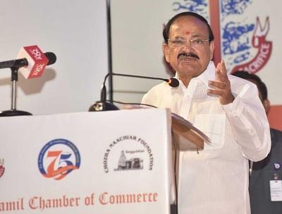Chennai: Vice President M. Venkaiah Naidu addresses at the Platinum Jubilee Celebrations of Tamil Chamber of Commerce, in Chennai on Oct 11, 2018. (Photo: IANS/PIB)