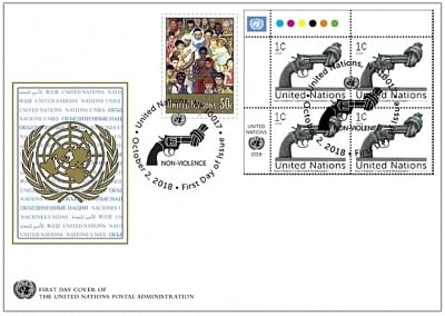 United Nations: The first day cover with the stamp issued by the United Nations Postal System for the International Day of Nonviolence depicting the Knotted Gun sculpture on the occasion of Gandhi Jayanti on, Oct. 2, 2018. (Photo: UN/IANS)