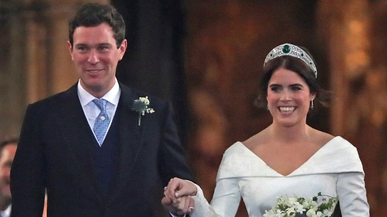 Princess Eugenie of York and Jack Brooksbank after their wedding ceremony at St George's Chapel, Windsor Castle, near London, England