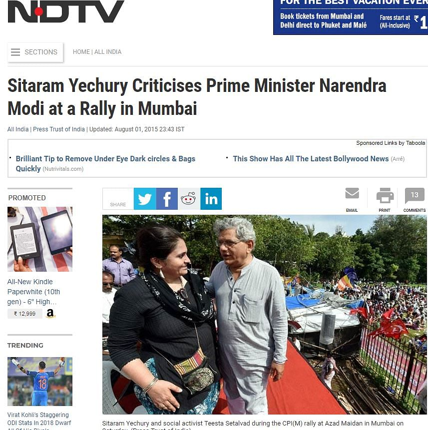 A screenshot of the event where CPI-M leader Sitaram Yechury and activist Teesta Seetalvad shared the stage, published on NDTV.