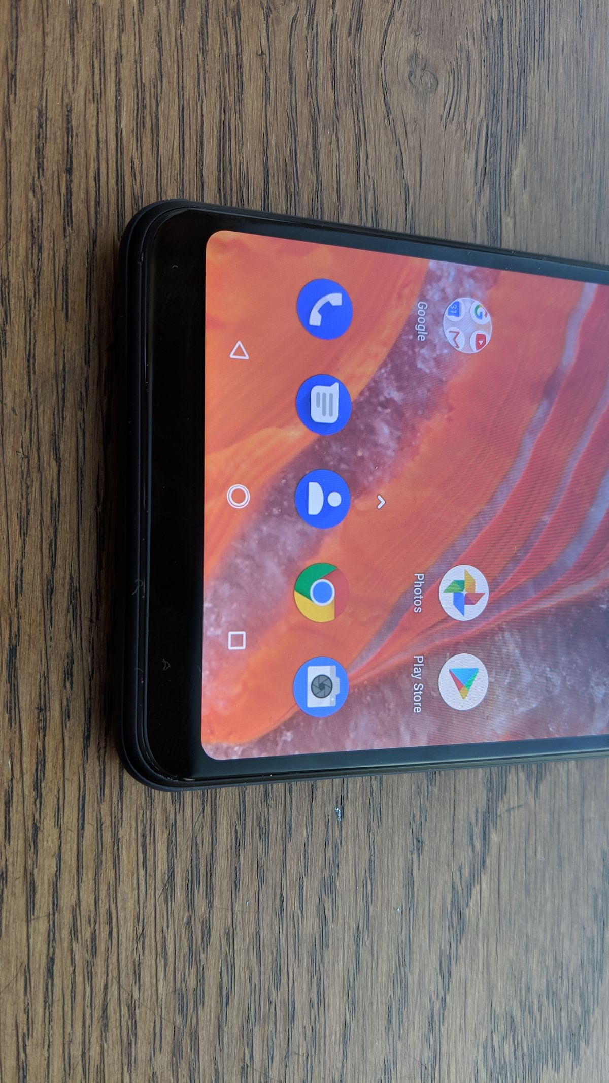 It doesn't have the notch design on the screen. Phew.
