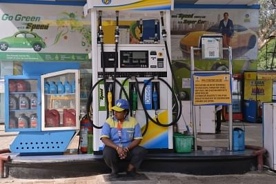 New Delhi: A deserted petrol pump in New Delhi on Oct. 22, 2018. Delhi Petrol Dealers Association said in a statement that petrol pumps and linked CNG stations will remain shut in protest against Delhi government