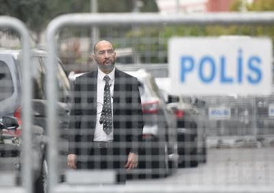 ISTANBUL, Oct. 20, 2018 (Xinhua) -- A security staff stands guard outside the Saudi consulate in Istanbul, Turkey, on Oct. 20, 2018. Preliminary investigations by the Saudi Public Prosecution showed missing journalist Jamal Khashoggi died after a fight at the Saudi consulate in the Turkish city of Istanbul, Saudi Press Agency (SPA) reported on Saturday. (Xinhua/He Canling/IANS)