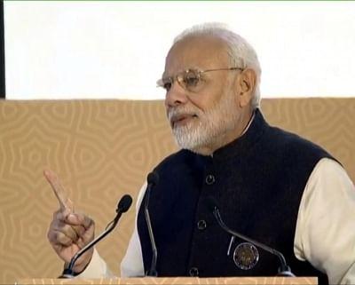 New Delhi: Prime Minister Narendra Modi addresses at the Mahatma Gandhi International Sanitation Convention (MGISC), in New Delhi, on Oct 2, 2018. (Photo: IANS)