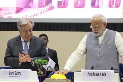 New Delhi: Prime Minister Narendra Modi and United Nations Secretary-General Antonio Guterres at the second Global RE-Invest - investment summit in New Delhi on Oct 2, 2018. (Photo: Amlan Paliwal/IANS)