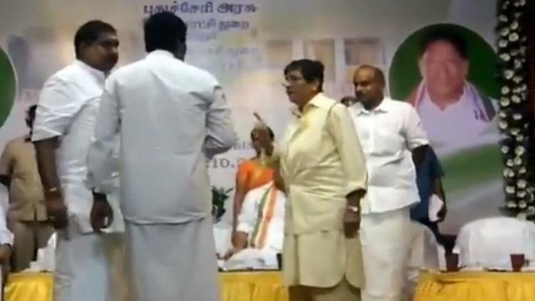 Kiran Bedi had asked the MLA's microphone to be switched off because he was speaking beyond his allotted time at a function in Puducherry.