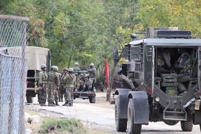 Pulwama: Security personnel during combing operations in Karimabad village after militants fired at and injured one Special Police Officer (SPO) in Jammu and Kashmir