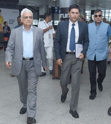 Hyderabad: Chief Election Commissioner O.P. Rawat and Telangana Chief Electoral officer Rajat Kumar arrive for a meeting with political parties, to review poll preparedness, in Hyderabad on Oct 22, 2018. (Photo: IANS)