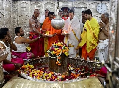 Congress President Rahul Gandhi accompanied by party leaders Kamal Nath and Jyotiraditya Scindia, offers prayers at Mahakaleshwar Jyotirlinga temple in Ujjain's Madhya Pradesh.