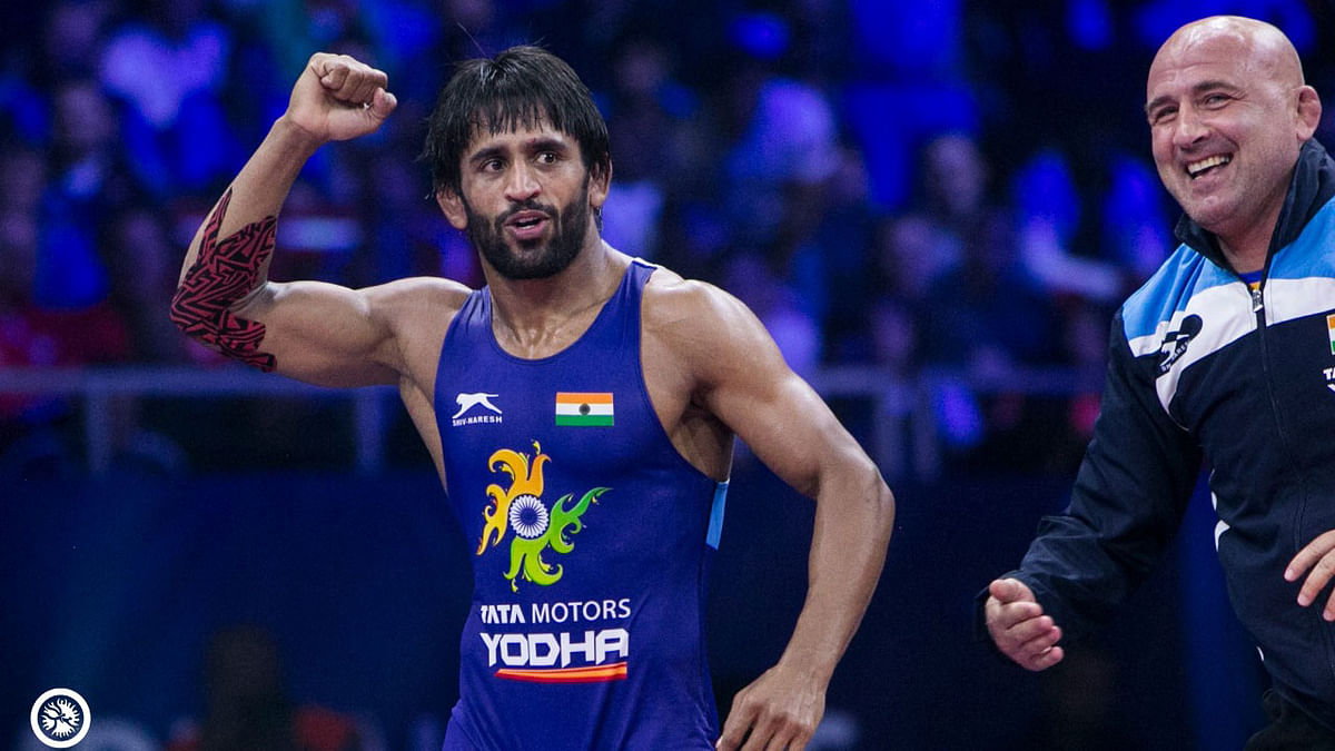 File picture of Indian wrstler Bajrang Punia celebrating en route his silver at the 2018 World Championships.