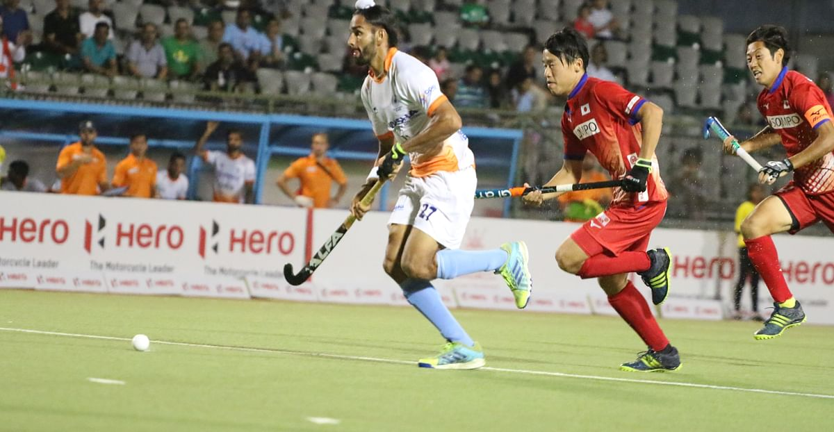 Akashdeep Singh scored in the 36th minute of India's Asian Champions Trophy match against Japan.
