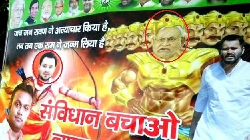 Posters Showing Tejashwi as 'Rama', Nitish as 'Ravana' Sparks Row