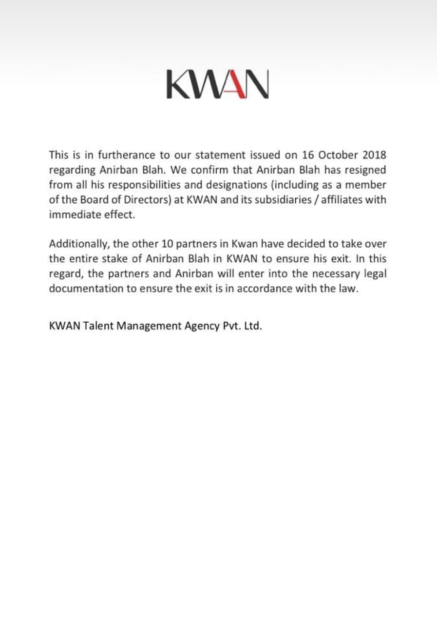 Statement by KWAN on 17 October.