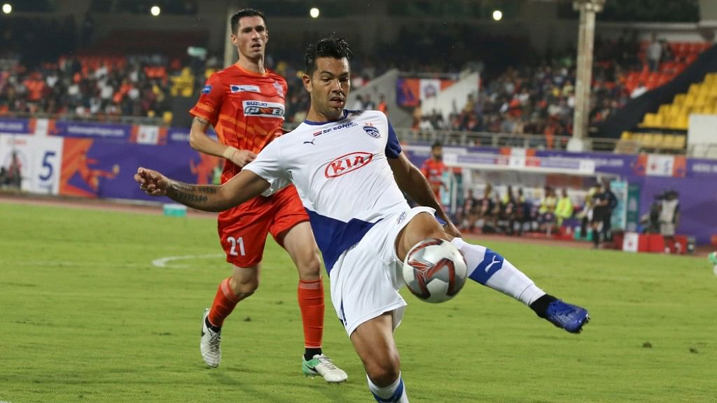 Bengaluru FC'S Miku scores the third goal for his side against FC Pune City on Monday.