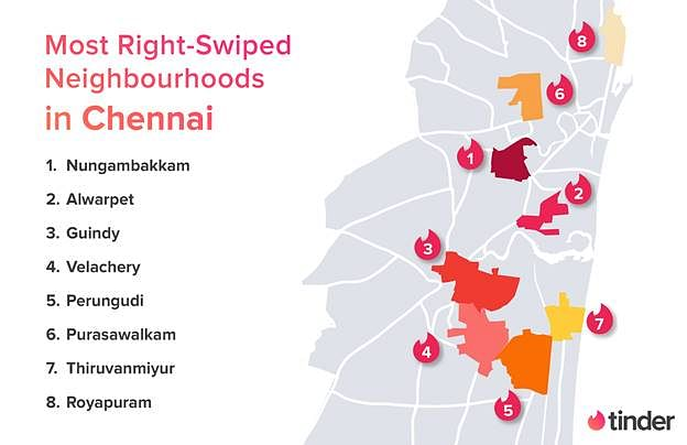 Chennai map of hot spots for right swipes.