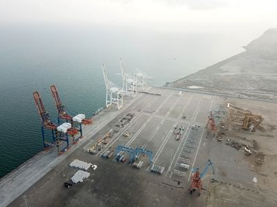 GWADAR, Jan. 29, 2018 (Xinhua) -- Photo taken on Jan. 29, 2018 shows a view of Gwadar port in southwest Pakistan