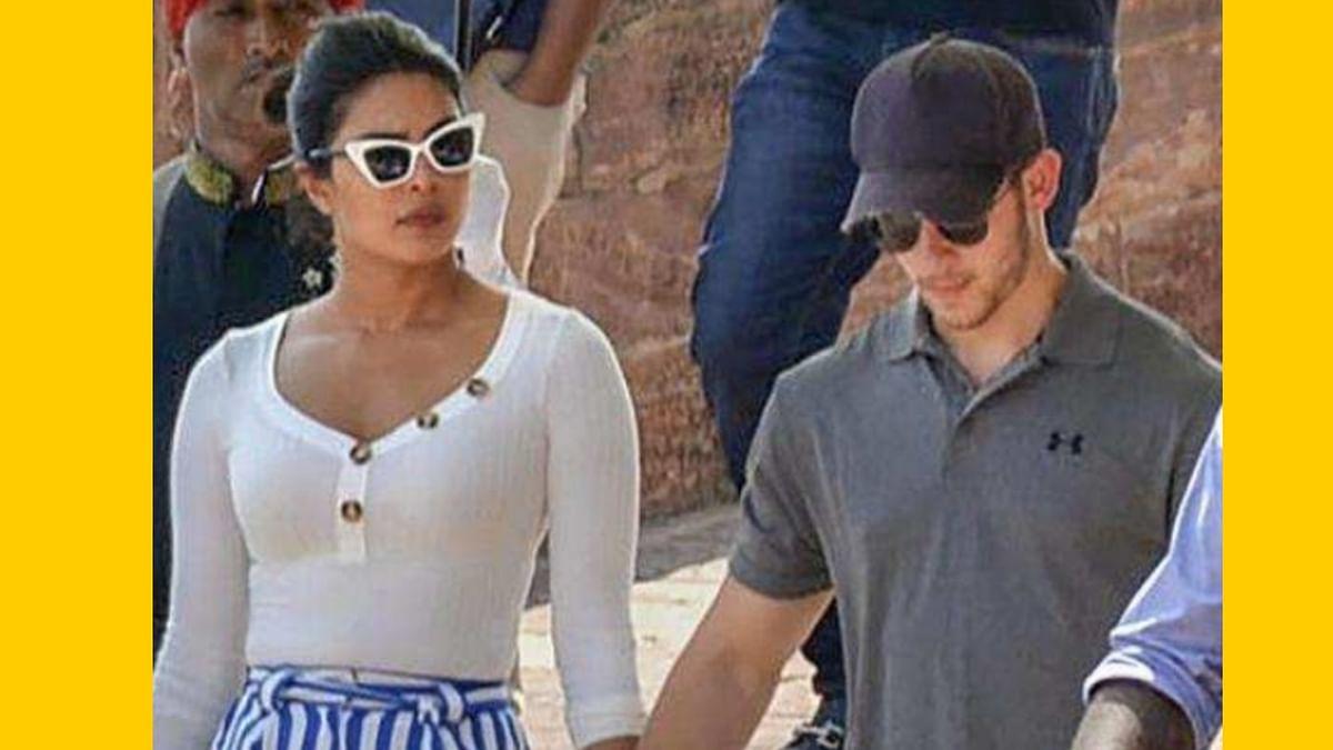 A swarm of fans flocked Priyanka Chopra and her singer, fiance Nick Jonas in the blue city of Jodhpur.