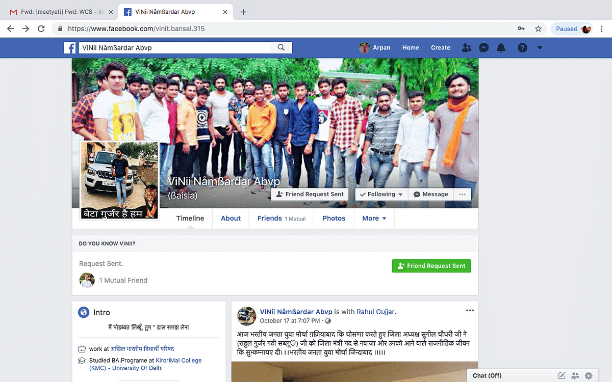 Vinit Bansal claims to be an ABVP member and a student of Kirorimal College on Facebook.