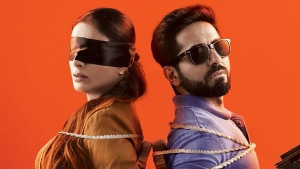 Ayushmann Khurrana and Tabu in a poster for <i>AndhaDhun</i>.