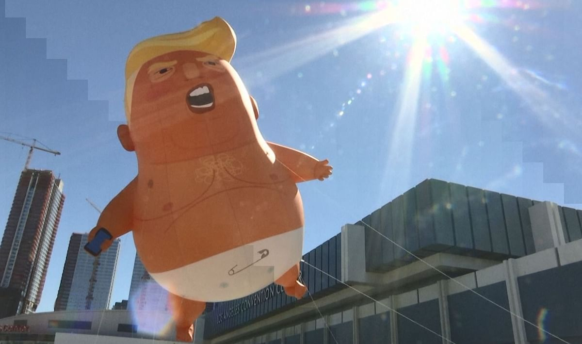The blimp depicting Donald Trump as a baby was floated at the Los Angeles Convention Center