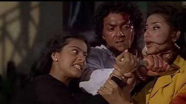 Kajol as the obsessive lover turned killer in <i>Gupt</i>.