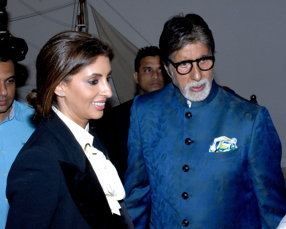 Shweta with Amitabh Bachchan at the launch.