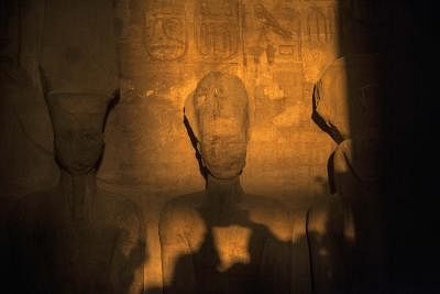 Monday marked a rare, twice-yearly solar alignment in Egypt when the sun