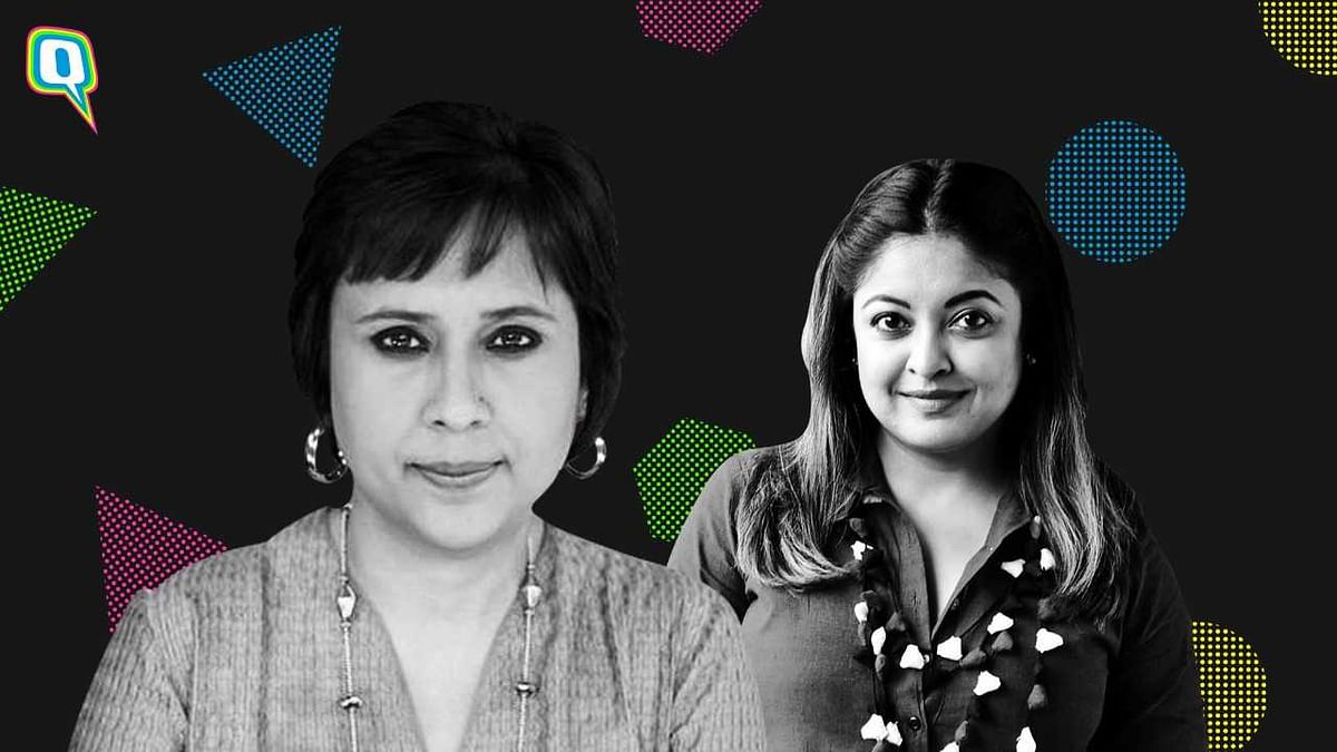 The panel at the 'We the Women' event, comprised journalists Sandhya Menon and Barkha Dutt.