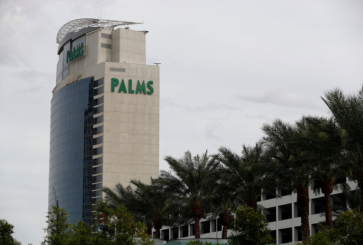 Trees line the Palms hotel and casino in Las Vegas.