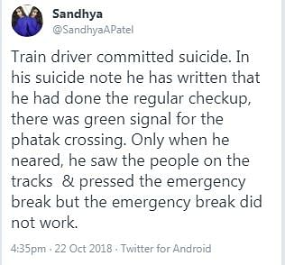No, the Amritsar Train Accident's Driver Hasn't Killed Himself