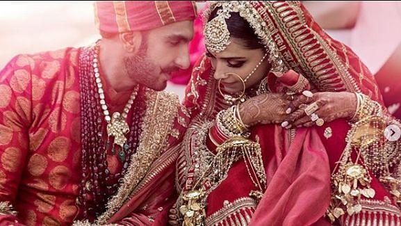 Ranveer Singh and Deepika Padukone at their wedding.
