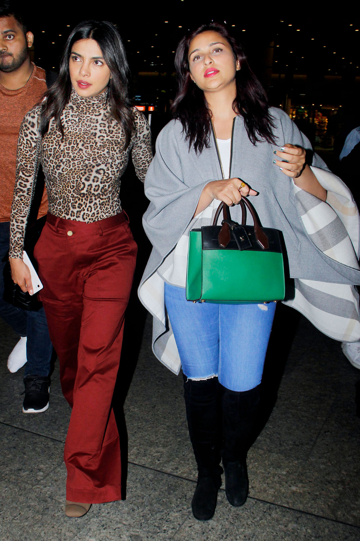 Priyanka and Parineeti Chopra spotted at the airport.