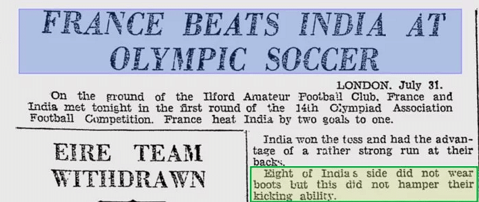 Did India Play Football  Barefoot in  Olympics Due to Cash Crunch?